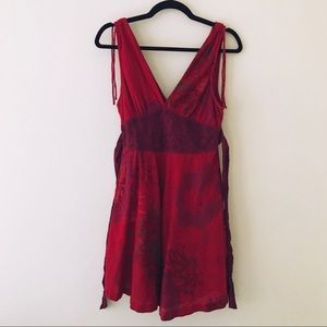 FREE PEOPLE Red V-Neck Cotton Dress
